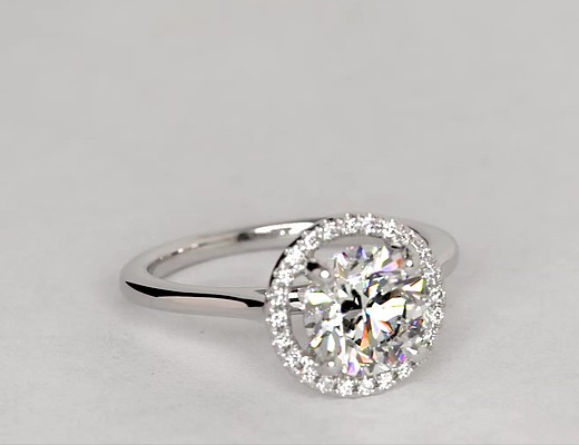 Plain Shank Floating Halo Engagement Ring In 14k White Gold Blue Nile