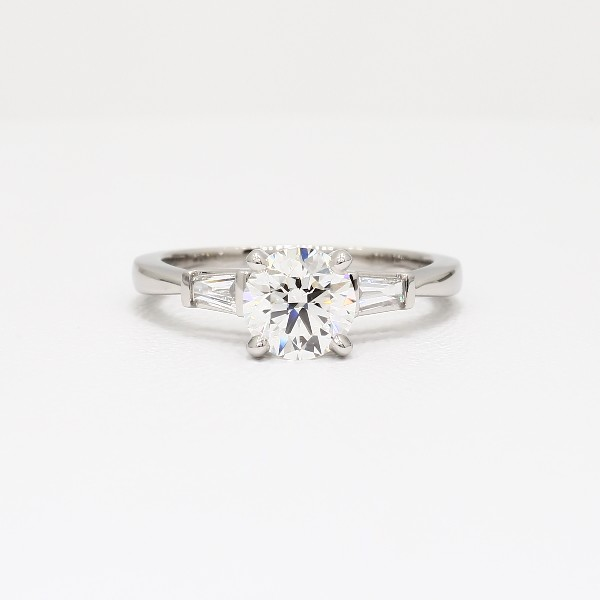 Tapered Baguette Diamond Engagement Ring in Platinum   Blue Nile Tapered Baguette Diamond Engagement Ring in Platinum  view with