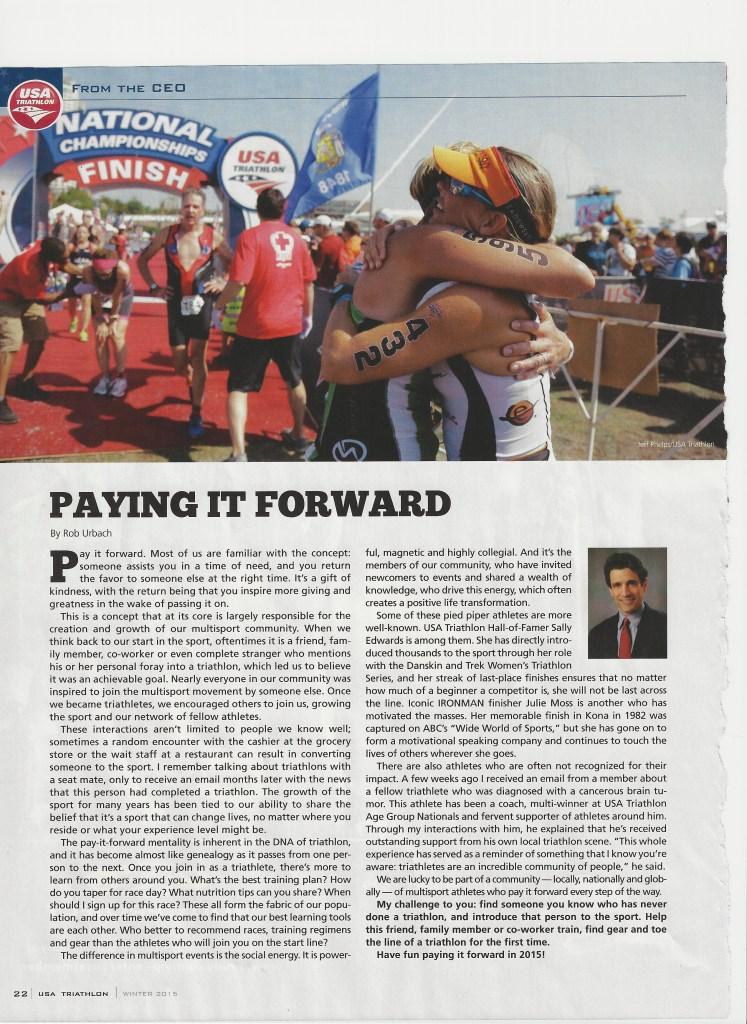 """Pay it Forward"" courtesy of USA Triathlon Magazine"