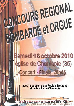 Affiche du Concours Régional Bombarde & Orgue 2010