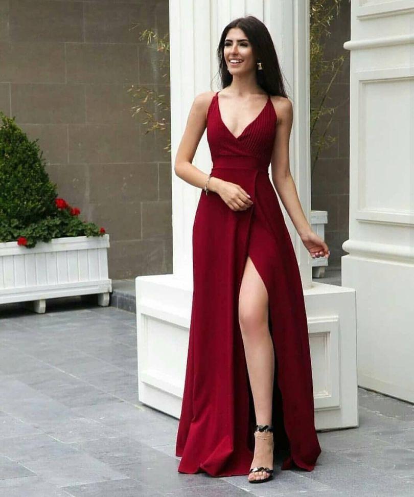 Vestido longos 2022 com Fenda