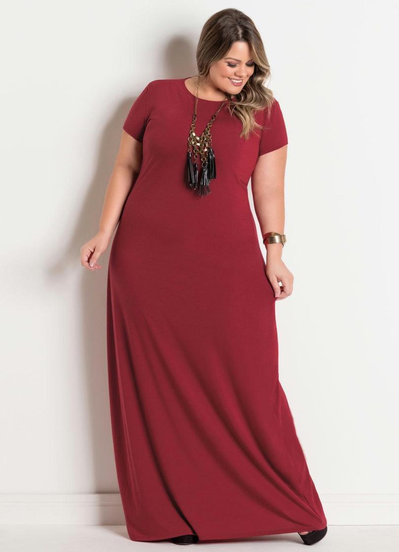 cor única vestido longo plus size