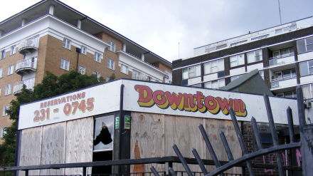 A burnt-out nightclub on a bleak stretch of the Thames in South East London
