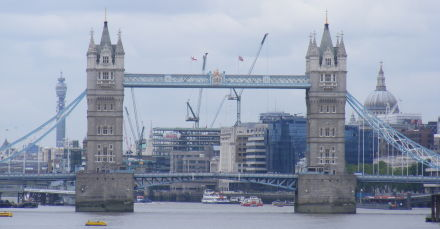 Tower Bridge as seen from the upstairs riverside bar at the Angel