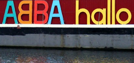 Boat with ABBA hallo written on the side