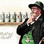 German postcard: a man struggles with the choice of beer in Munich.