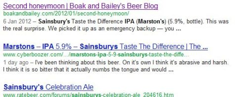 Google result for a beer-related search.