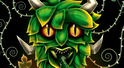 Detail from the label of Oakham's Green Devil IPA.