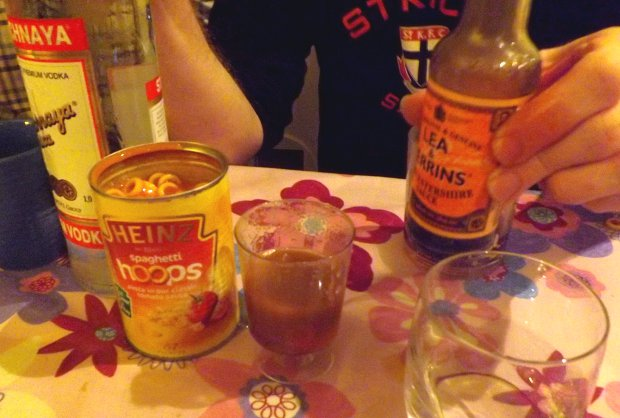 Luckily, I avoided having to drink a Hoopy Mary, improvised by a friend in the absence of tomato juice.