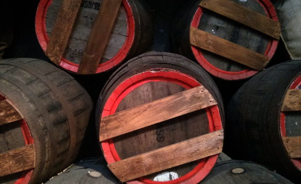 Wooden beer casks.