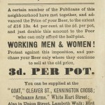 Flyer complaining about the increasing price of beer, 1881.