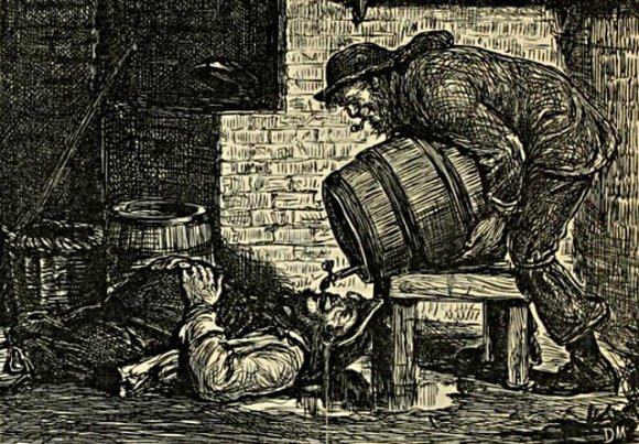 Punch 1867: beer being poured down a bloke's throat.