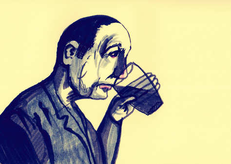 Miserable man with pint (illustration).
