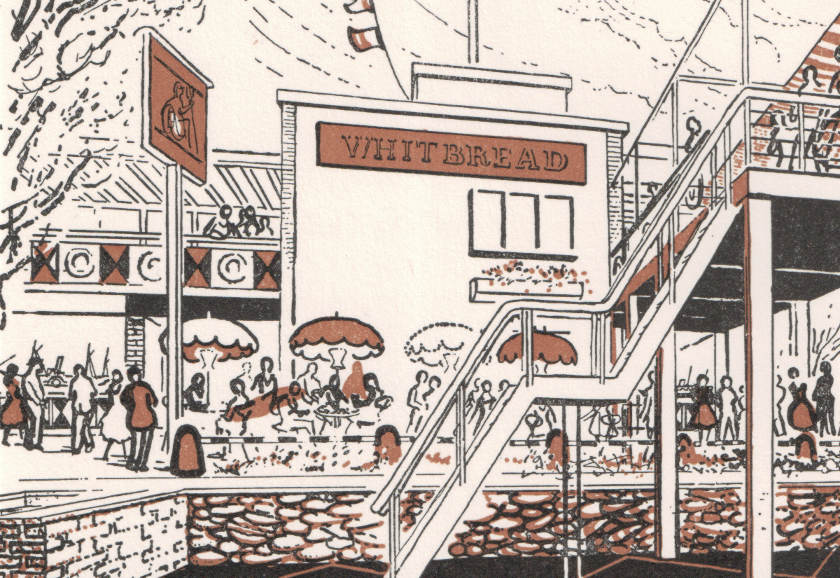 Illustration: the exterior of the Britannia with parasols and staircases.