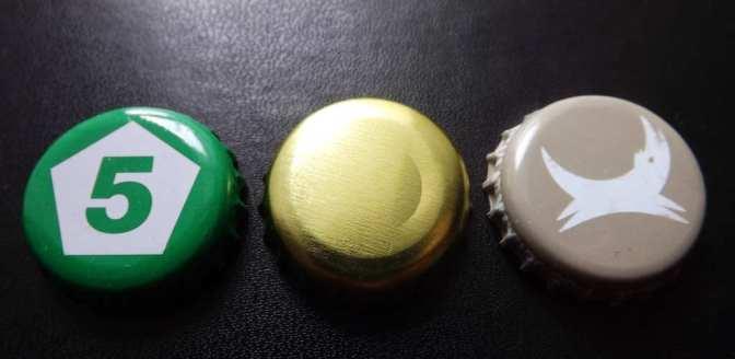Beer bottle caps: Five Points, BBNO, BrewDog.