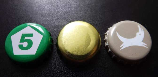 Beer bottle caps: Five Points, BBNO, BrewDog.