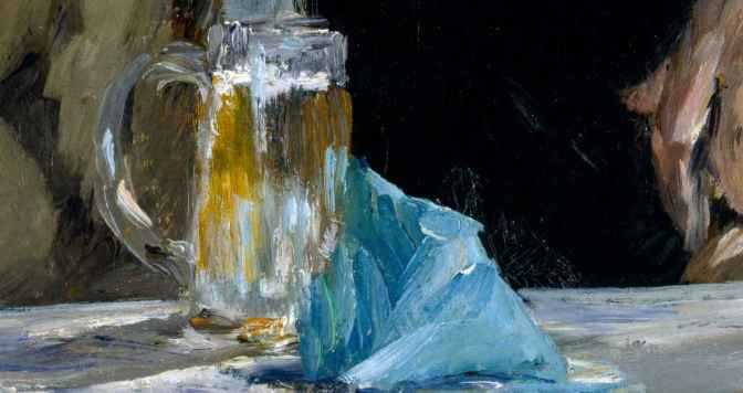 Detail from Édouard Manet's The Cafe Concert, 1878: a glass of beer.