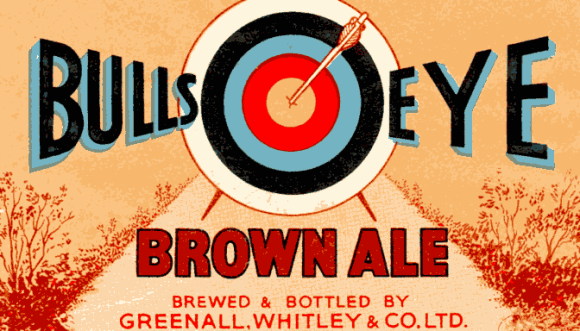 Bullseye Brown -- autumnal vintage beer label. (Detail.)