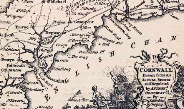 Detail from a map of Cornwall, 1780s.