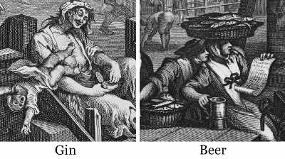 Details from 'Gin Lane' and 'Beer Street' by William Hogarth.