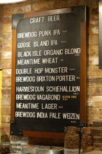 Keg beer list at the Grain Store, Cambridge, by Pints and Pubs, used with permission.