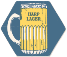 Beer mat advertising Harp Lager c.1980.