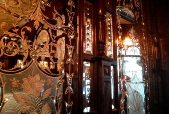 Engraved mirrors at the Red Lion, St James's, London.