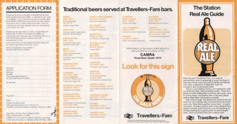 Travellers-Fare Real Ale leaflet 1979, side one, listing beers available.