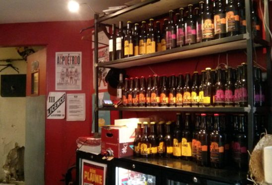 La Plaine bottle shelves.