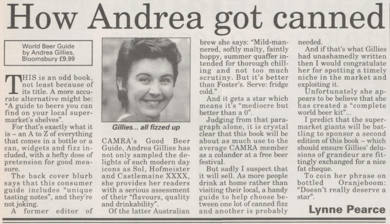"""'How Andrea Got """"Canned""""', book review from What's Brewing."""