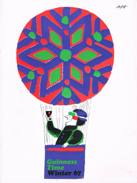 Winter 1967, front cover; a hot air balloonist drinking Guinness.