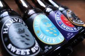 Harvey's bottled beers: Sweet Stout, Blue Label, IPA, Brown.