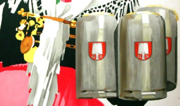 Four large steins of Spaten lager (detail from a poster c.1920s.)