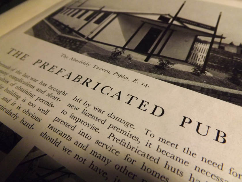 Macro shot of 'Prefabricated Pubs' article from a 1949 brewery magazine.