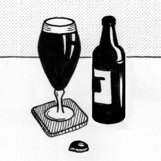 Bottle of stout w. glass.