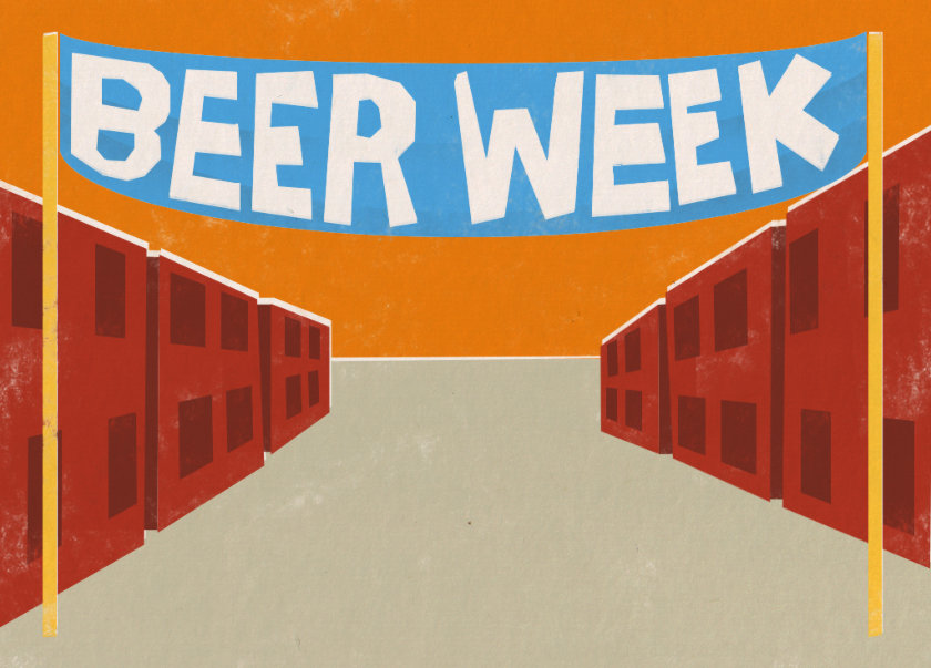 Illustration: Beer Week banner in front of town.