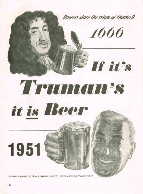 A 17th century cavalier and a modern drinker raise a glass of Truman's Beer.