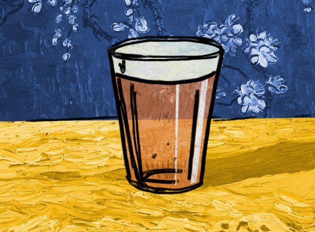 Illustration: a pint of beer with Van Gogh textures.