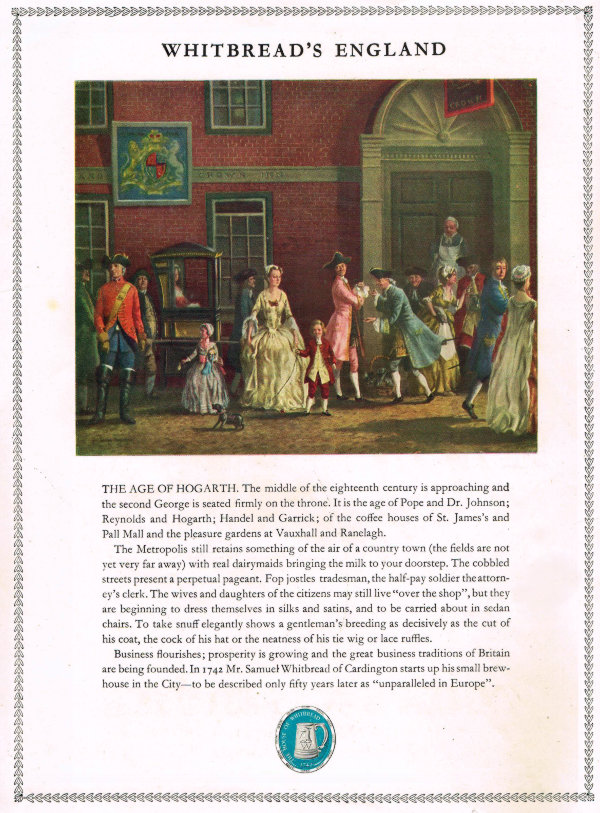 A painting of 18th century London with text about the founding of Whitbread's brewery.