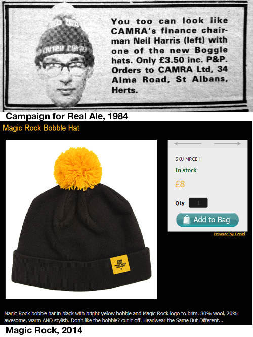 CAMRA Boggle hats (1984) and Magic Rock bobble hat (2014)