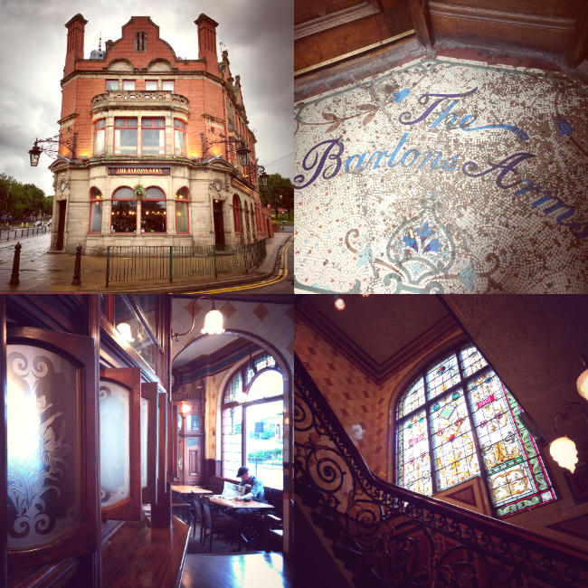 Collage: various images of the Barton's Arms (stained glass, mosaics, snob screens).