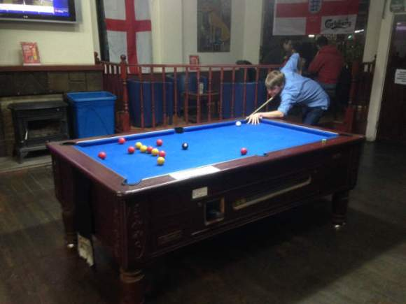 Pool table in a London pub.