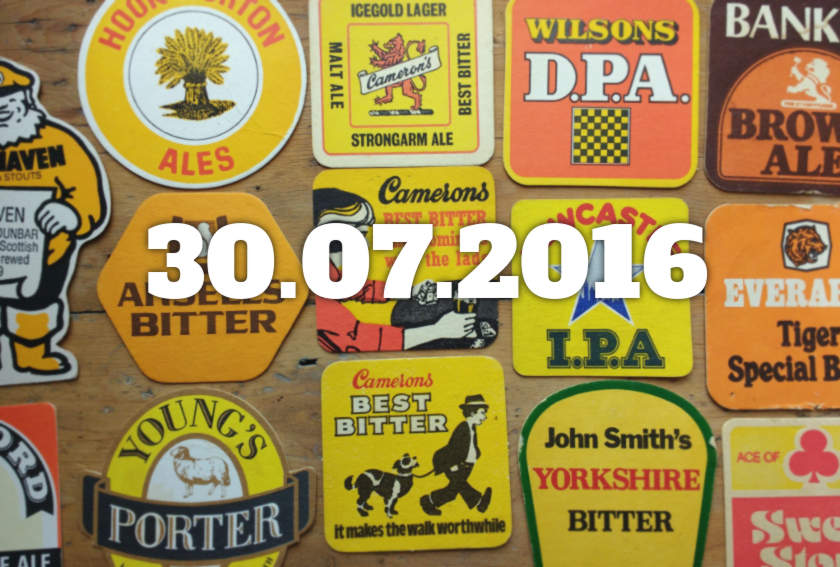 Beermat collage with date overlaid.