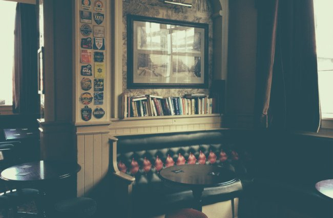 The corner of a pub lounge in Chester.