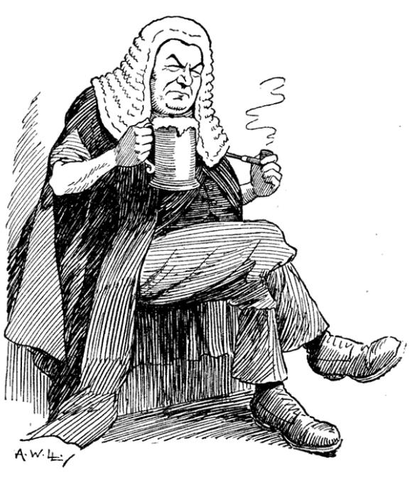 Judge with beer.
