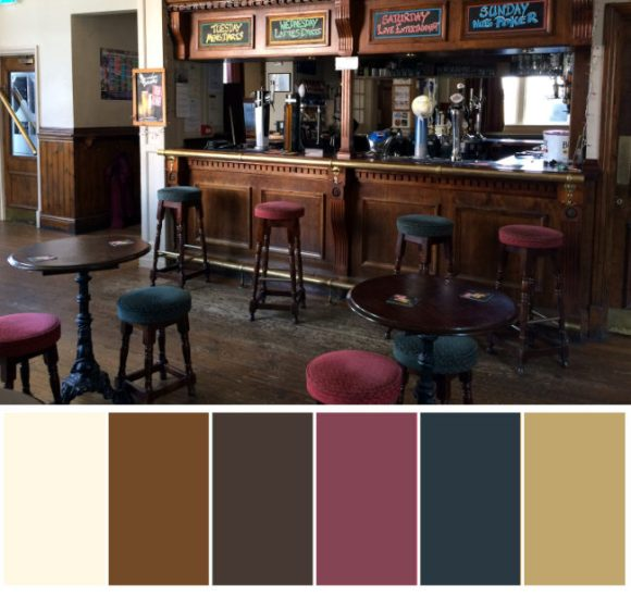 A photo of a pub interior with colour pallette at bottom.