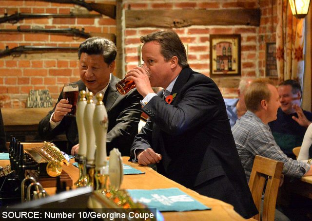 David Cameron and President Xi at The Plough.