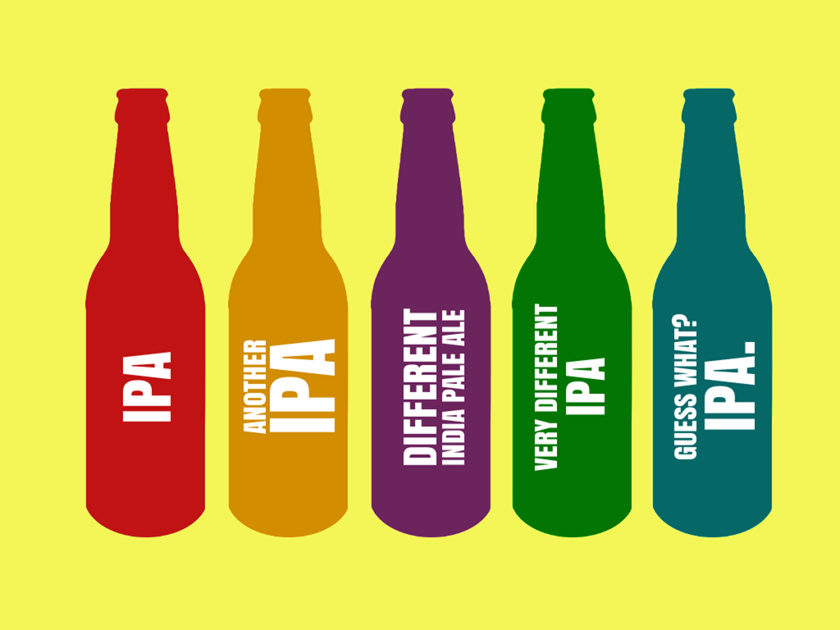 Illustration: five IPA bottles.