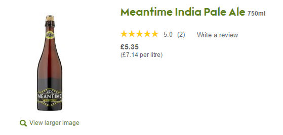 Waitrose screen display for Meantime IPA.