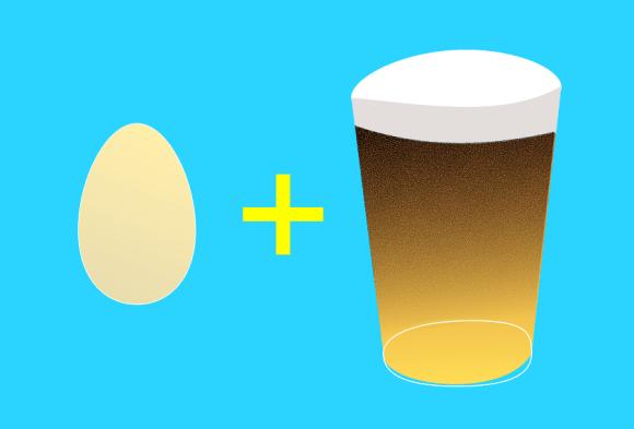 Illustration: egg + pint of beer.